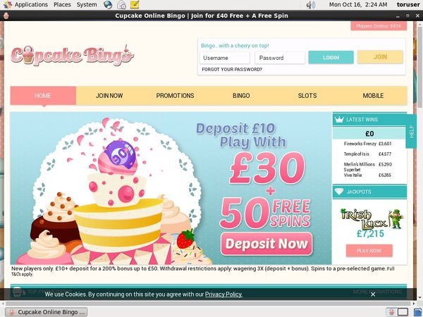 Cupcake Bingo Sign Up Bonus