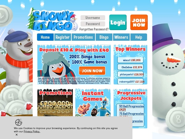 Snowy Bingo Gambling Offers