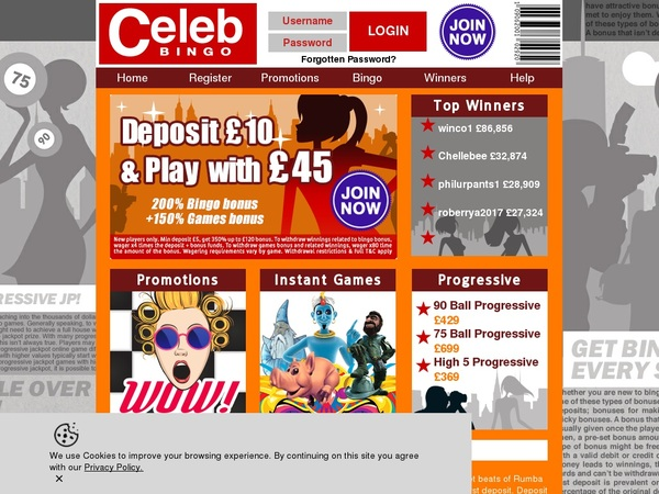 Celebbingo Welcome Bonuses