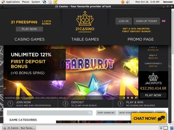 21 Casino 存款