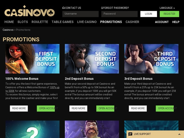 Casinovo Promotions Opening Offer
