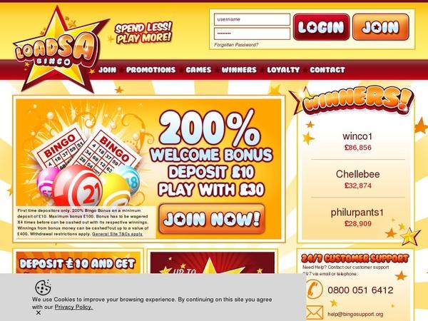 Loadsa Bingo 300 Euro Bonus